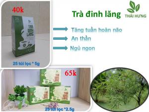 Trà đinh lăng Thái Hưng 25 túi lọc 2.5g cao cấp (trị chứng mất ngủ, giúp an thần)