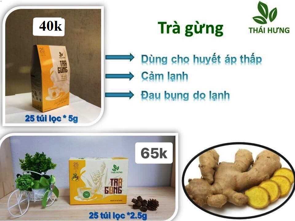 Trà Gừng Thái Hưng 25 túi lọc 5g (giúp trị bệnh huyết áp thấp, cảm lạnh, đau bụng do lạnh)