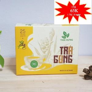 Hộp trà gừng Thái Hưng cao cấp 25*2.5 gam túi lọc (giúp tăng huyết áp thấp, đau bụng do lạnh)