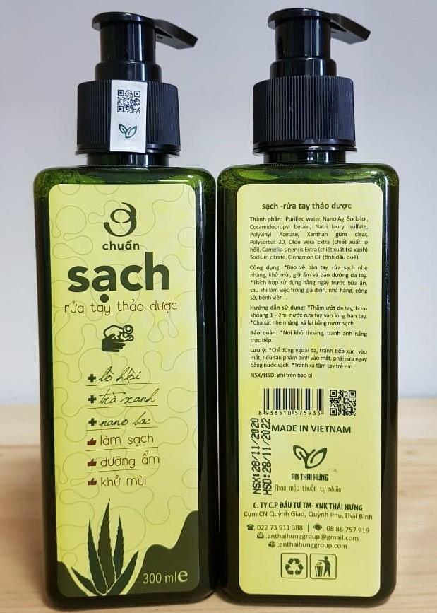 Nước rửa tay thảo dược Ơ chuẩn sạch An Thái Hưng 300ml
