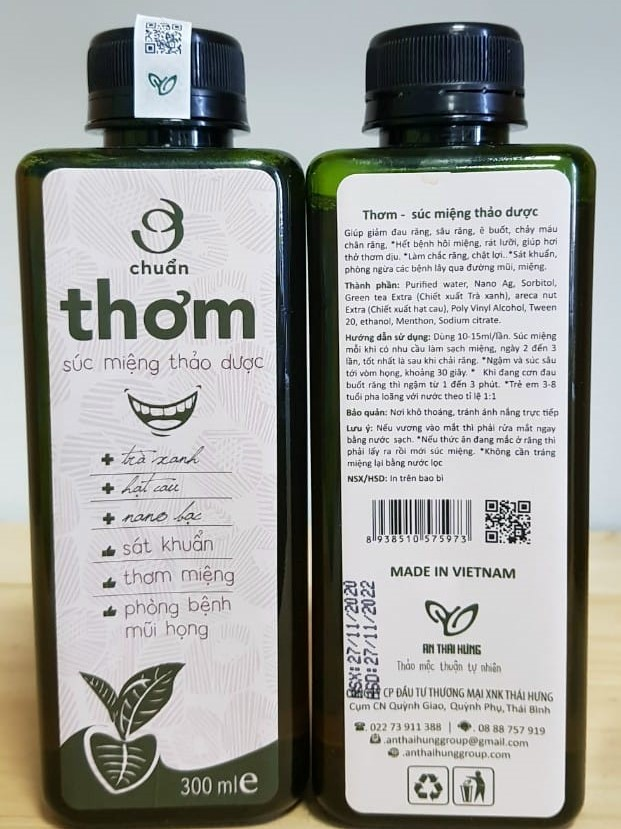 Nước súc miệng thảo dược Ơ chuẩn thơm An Thái Hưng 300ml